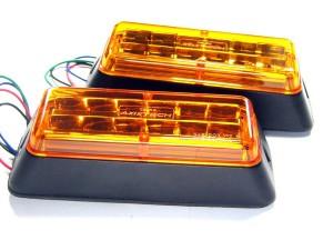 Сверхяркие автомобильные импульсные светодиодные фары SK-K6 (оранжевые)